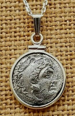 Authentic Ancient Greek Drachma Coin of Alexander The Great 925 Silver Necklace