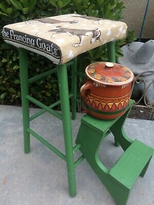 Vintage 3-Step Folding Step Stool Primitive GREEN Paint With vintage fabric