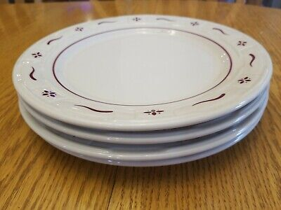 """Set of 4 Longaberger Pottery Woven Traditions Red Dinner Plates 10"""""""