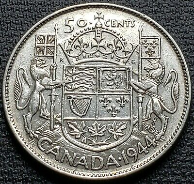 1944 Canada 80% Silver 50 Cent Half Dollar - Great Condition