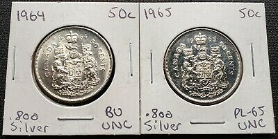 1964 & 1965 Canada Silver 50 Cent Half Dollars - Mint Condition MS & Proof Like