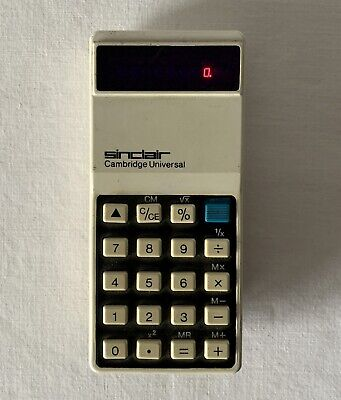 Working Sinclair Cambridge Universal 9v Battery Operated Vintage Calculator