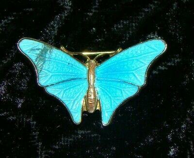 Vintage Antique Chinese Export Enamel Sterling Silver Butterfly Brooch Pin