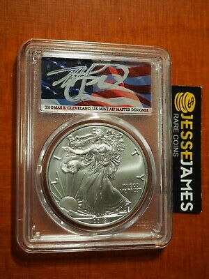 2019 (W) Silver Eagle Pcgs Ms70 Flag Thomas Cleveland First Day Of Issue Fdi
