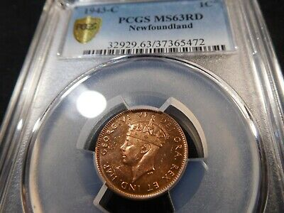 A20 Canada Newfoundland 1943-C Small Cent PCGS MS-63 Red