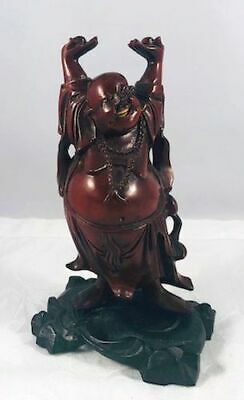 Antique Chinese Hand Carved Boxwood Laughing Jolly Buddha on Custom Stand N/R