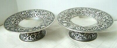 2 Jenkins & Jenkins Sterling Silver Repousse Compotes Baltimore