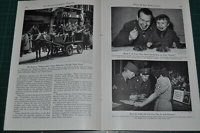 1944 US soldiers on leave in London, magazine article, GIs WWII