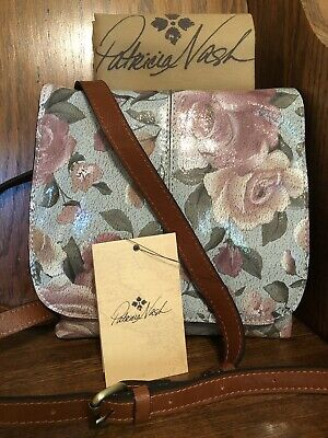 NWT-Patricia Nash-Crackled Rose-Italian Leather-Granada Crossbody-Dust Bag-$189