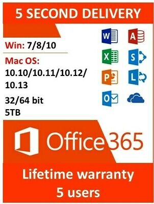Instant Microsoft Office 365 ProPlus 32/64bit Lifetime Account 5 Devices License