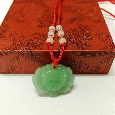 Natural Green Jade Lotus Pendant Necklace Fashion Lucky