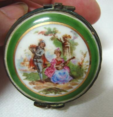 antique porcelain Limoges Courting couple small trinket ring box