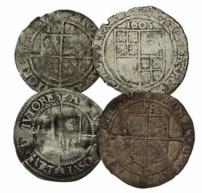 MEDIEVAL. Lot of 4 hammered British coins. All Sixpence