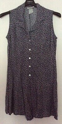 vintage 80s blue grey floral buttoned rever collar tieback shorts playsuit 12 14