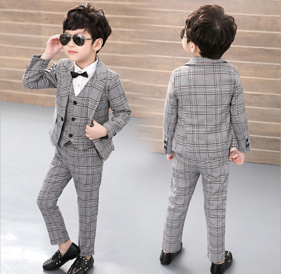 Kids Baby Boys Blazers Gentleman Suit Plaids Wedding Party Concert Outfits