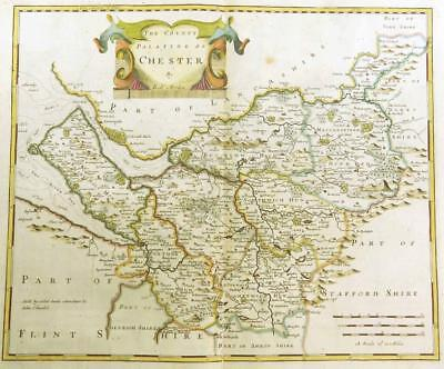 1695 Original Antique Map CHESHIRE CHESTER Robert Morden RARE 1st Issue COLOUR