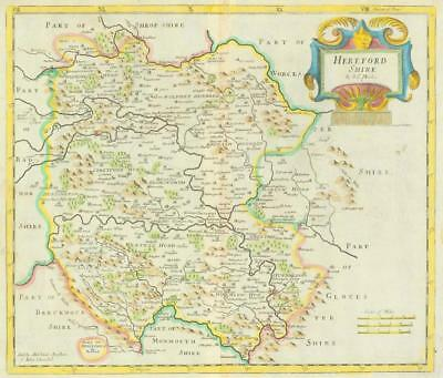 1722 Original Antique Map - HEREFORDSHIRE by Robert Morden HAND COLOUR