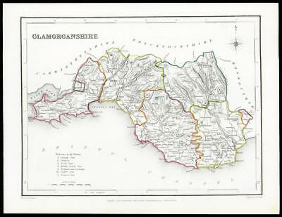 """1845 Antique colour map of """"GLAMORGANSHIRE"""" Wales by LEWIS W/DW36"""