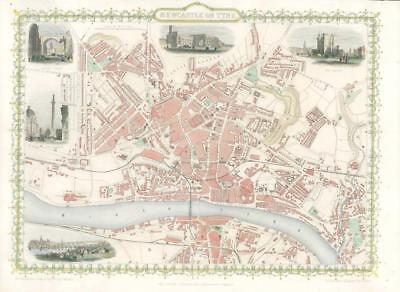 "1851 ORIGINAL ANTIQUE City Map of ""NEWCASTLE ON TYNE""  by Tallis & Rapkin (WV2)"