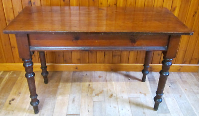 Antique Victorian Pine Narrow Kitchen / Hall Table With Drawer & Turned Legs