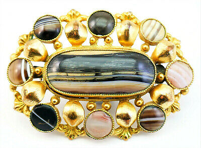 c1860, ANTIQUE 19thC VICTORIAN SCOTTISH AGATE PEBBLE GILDED PINCHBECK PIN BROOCH