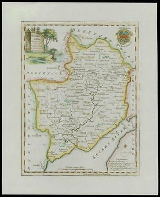 c1770 Original Antique MAP Wales of MONMOUTHSHIRE by Thomas Kitchin (W/DW131)
