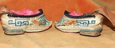Antique Chinese Foot Binding Shoes~Delicate Pair Used Lady's  Foot-Binding Shoes