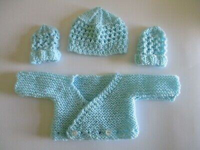 KNITTING PATTERN  CARDIGAN //HAT /&  BOOTIES  SIZE B93 PREMATURE 4 YRS