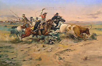 """Herd Quitter Russell Charles Montana Old West Cowboy Art 11 1//2/"""" x 17 1//2/"""""""