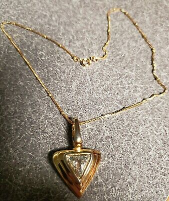 "#10 Nice 16"" Gold triangle Pendant Chain Necklace"