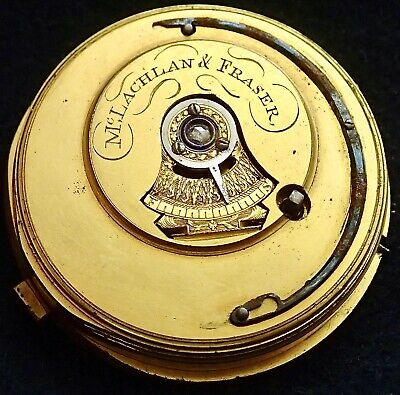 Mc Lachlan & Fraser English Centre Seconds Cylinder Fusee Pocket Watch Movement