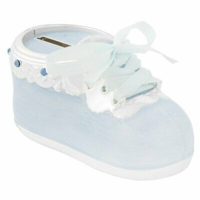 Christening Gift Silver Plated Blue Bootie Money Box New Baby Boy Gift