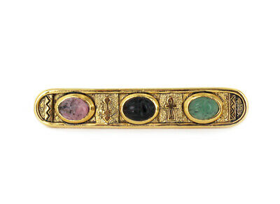 Vintage Egyptian Revival Gold Plated Carved Gemstone Scarab Bar Pin Brooch