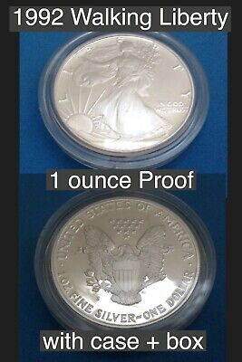 1992 Walking Liberty Silver Ounce Proof .999 Silver With Box and Case Key Date