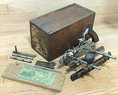 TYPE 8 1907-1908 STANLEY No. 45 COMBINATION PLANE w/CUTTERS in ORIGINAL BOX-TOOL