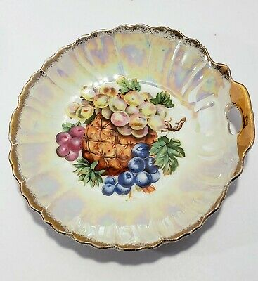 """Vintage Lusterware Bowl with Fruit Pattern and Gold Rim Made in Japan  7 7/8"""""""