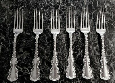 "Louis Xv By Whiting Set Of 6 Sterling Silver Forks 6 7/8"" No Monogram"