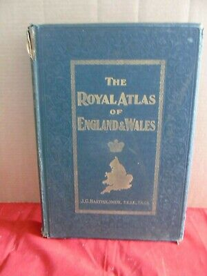 ROYAL ATLAS OF ENGLAND & WALES BY BARTHOLOMEW 70 COL MAPS circa 1890,s