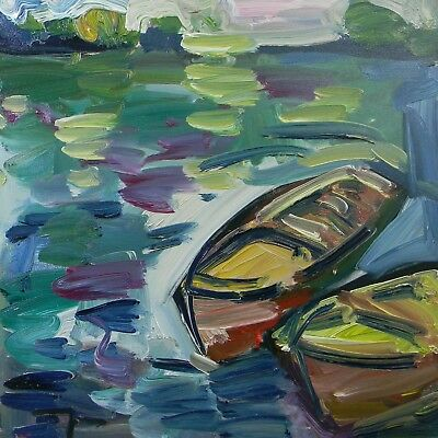 Jose Trujillo Oil Painting 20X20 Boats Water Impressionist Contemporary Decor