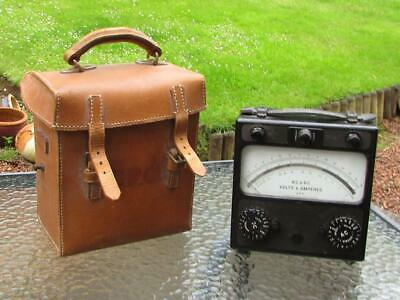 Vintage Gpo Amperes & Volts Ac Dc Ohms Meter With Leather Case - Sangamo Weston