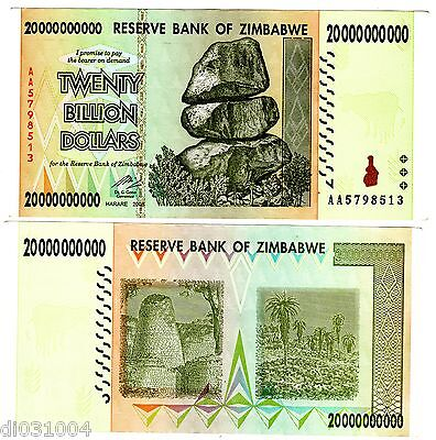 Zimbabwe Billet 20 BILLION ( MILLIARD ) 20000000000 DOLLARS 2008 P86 AA BON ETAT