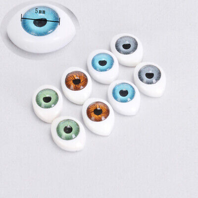 4 Colors 8 Pieces Oval Hollow Back Plastic Eyes For Dolls Mask DIY 5mm