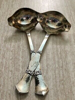 Pair Of Christian F Heise Hammered 826/1000 Sterling Silver Ladles Danish Deco
