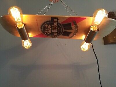 pabst blue ribbon beer light up wooden skateboard sign bar pool table pbr