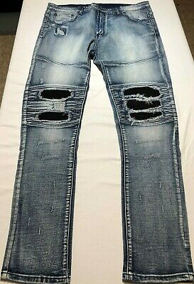 c3180e833 Y&R Young & Reckless 38x32 Leather-Tag tapered Distressed Skinny STRETCH  Jeans