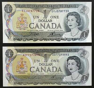 Lot 2x 1973 Bank of Canada $1 One Dollar Banknotes - Crisp Uncirculated