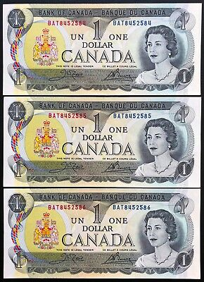 Lot of 3x Consecutive Uncirculated 1973 Bank of Canada $1 Dollar Bills