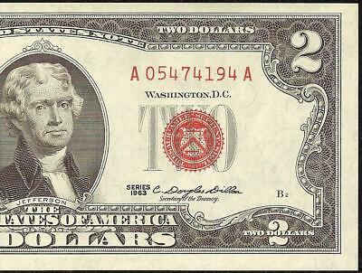 1963 $2 TWO DOLLAR BILL UNITED STATES LEGAL TENDER RED SEAL NOTE Fr 1513 AU-UNC
