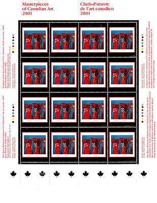 Canada 2001 Masterpieces of Canadian Art sheet of 16 stamps, very fine, MNH