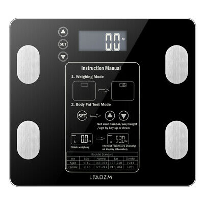Leadzm Backlight LCD Weight Body Scale Fat BMI Tempered Glass 400lbs/180kg